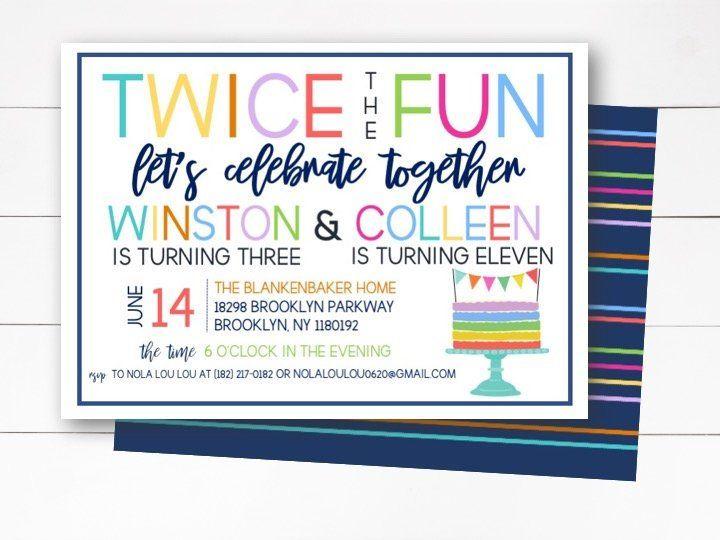 fun joint birthday party invitation