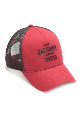 Saturday Down South Men's 'Saturday Down South'  Mesh Trucker Cap - Crimson/Black - One Size