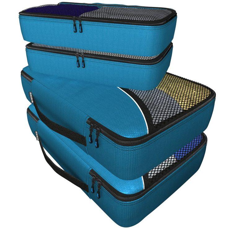 Packwürfel 4pcs Wert Set für Reisen - Plus 6pcs Gepäck Veranstalter Zip Beutel(Blue): Amazon.de: Koffer, Rucksäcke & Taschen