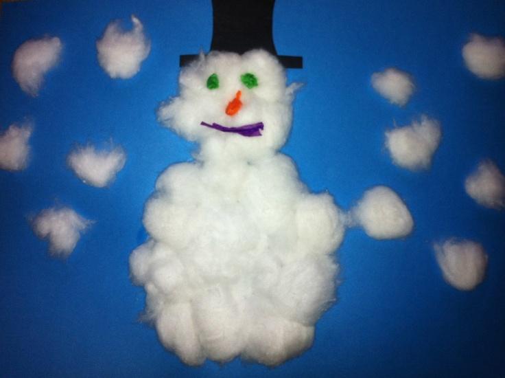 Snowman Toddler craft - helpful for sensory skills and fine motor skills.