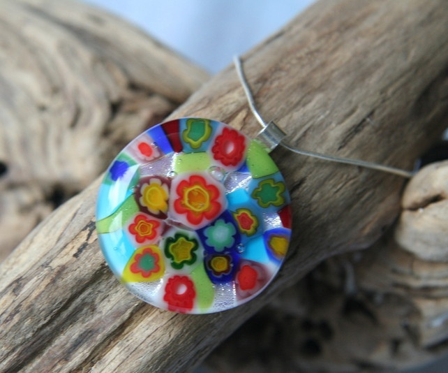 Multi-coloured floral glass pendant  £20.00