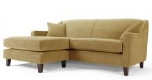 Halston, un canapé d'angle à méridienne modulable, vert foin