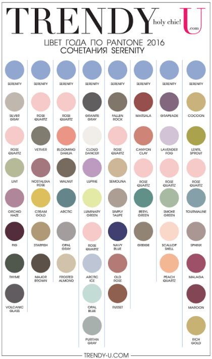 Сочетания цвета серенити по Pantone 2016