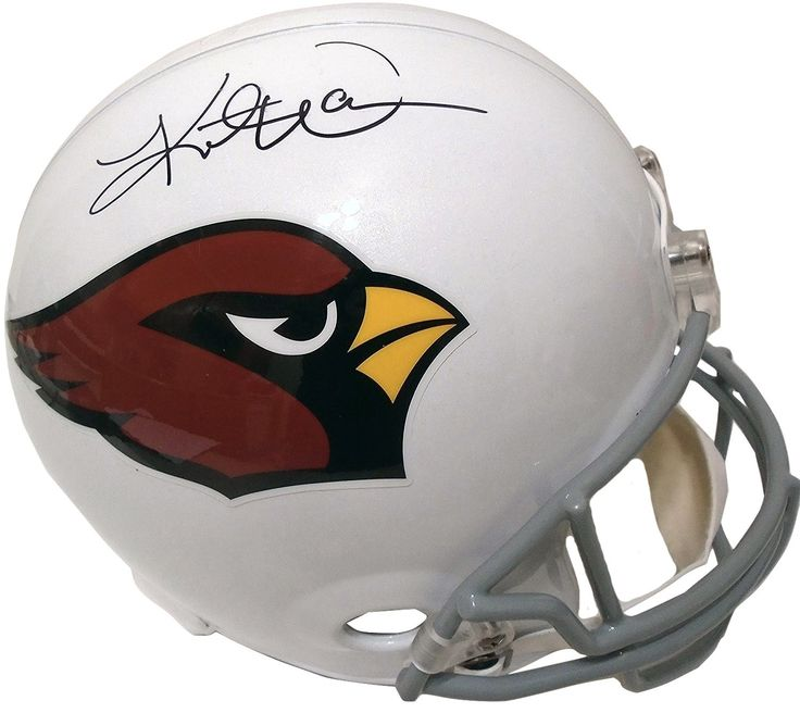 This is a brand-new Kurt Warner signed Arizona Cardinals Riddell full size deluxe replica football helmet. Kurt signed the helmet in black sharpie. Check out the photo of Kurt Warner signing for us. *