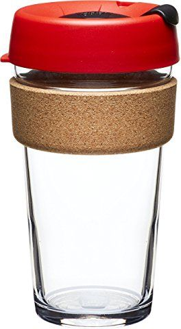 KeepCup Brew Glass Reusable Coffee Cup, 16 oz, Ladybug