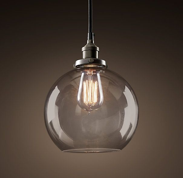 Pendant for over the sink - Restoration Hardware - 20th C. Factory Filament Smoke Glass Café Pendant