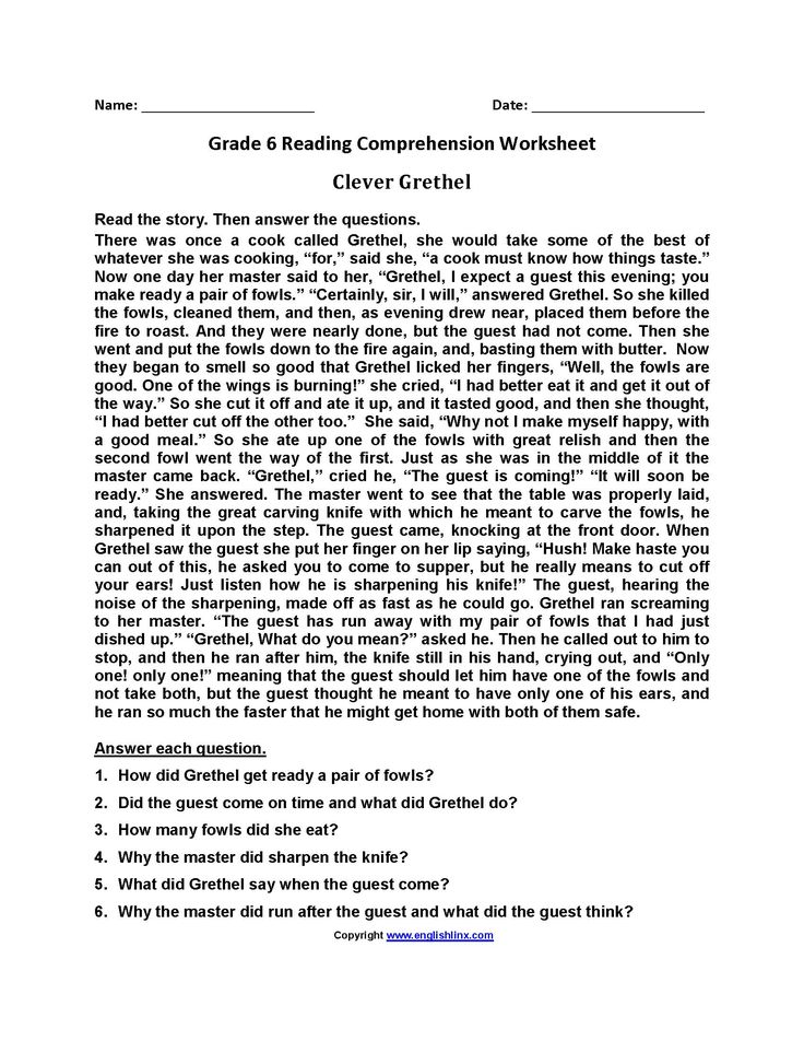 Free Printable 6th Grade Reading Worksheets With Answer ...