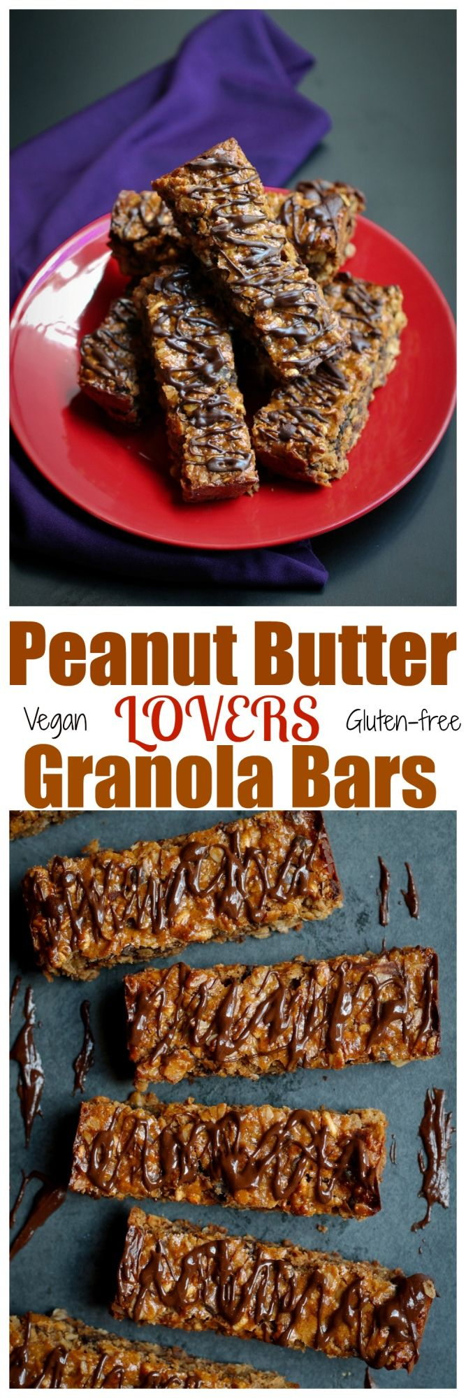 Peanut Butter Lovers Granola Bars. Vegan, gluten-free, oil-free and just 8 ingredients!