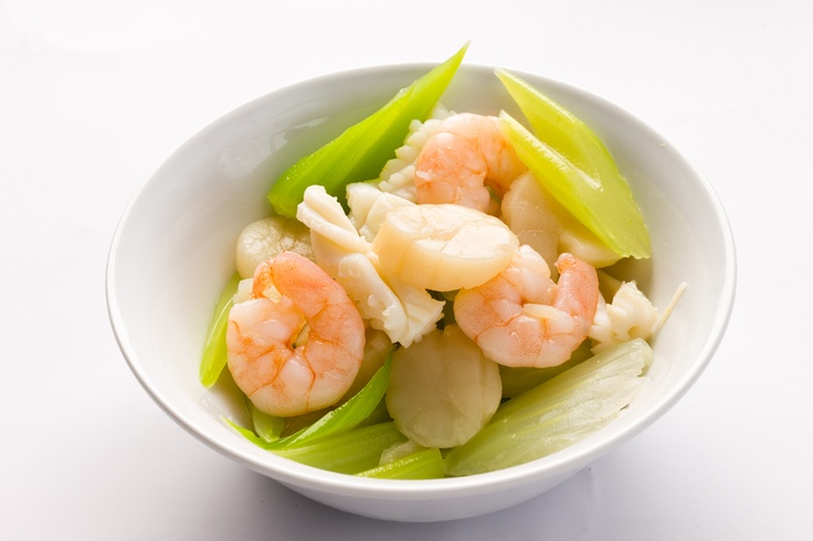Seafood and celery salad with wasabi