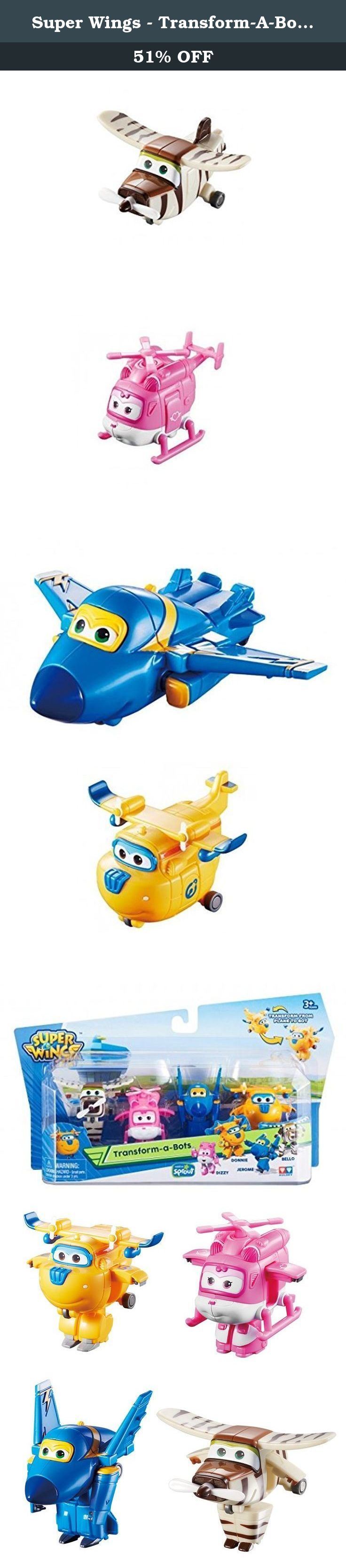 Super Wings - Transform-A-Bots 4 Pack - Donnie, Dizzy, Jerome & Bello. Super Wings - we deliver! Transform these 4 Super Wings mini-figures from planes to robots in 3 easy steps. Each character transforms a little differently, according to their unique form. Transform-a-bots are perfect for reenacting favorite missions from the popular Super Wings TV show. The 4-Pack includes Donnie, Dizzy, Jerome & Bello.