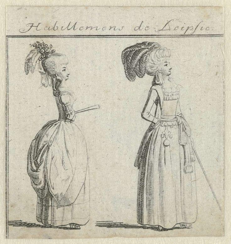 Habillemens de Leipsic  ca. 1785-1786: twee vrouwen met waaier en wandelstok, Ernst Ludwig Riepenhausen, c. 1785 - c. 1786