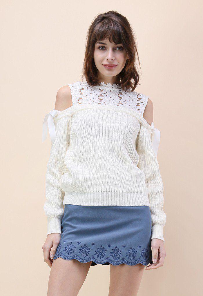 Сладкое Воплощение Холодного плеча свитер в Айвори - Свитера - Топы - Ретро, Инди и уникальные моды