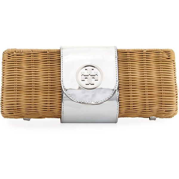 Tory Burch Rattan Straw Metallic Clutch Bag (€270) ❤ liked on Polyvore featuring bags, handbags, clutches, silver, snap purse, flap handbags, flap purse, metallic clutches and metallic purse
