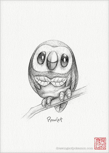 Rowlet 5 x 7 print pokemon drawing art artwork by RockyHammerEtsy