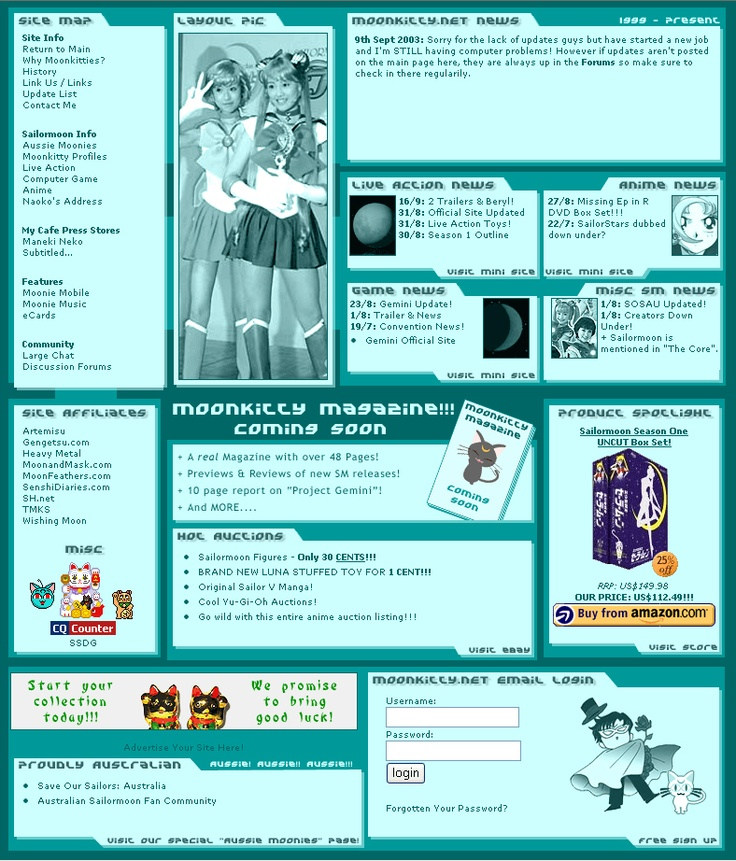 Moonkitty.NET Version 5.2 which ran from the 12th of June 2003 to the 3rd of February 2004. Around the time Pretty Guardian Sailor Moon (PGSM) was announced!