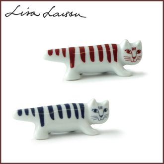 LISA LARSON Lisa Larson Mikey chopstick rest 2 piece set red & blue Hasami see ware / Japan series / chopstick rest bird and Lisa-Larson / animals / cats / cat cats cute / Scandinavian / gadgets / made in Japan /