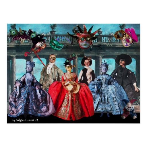 ANTIQUE ITALIAN PUPPETS MASQUERADE COSTUME PARTY POSTER #karneval #carnevale #fineart #carneval #mardigras #puppet