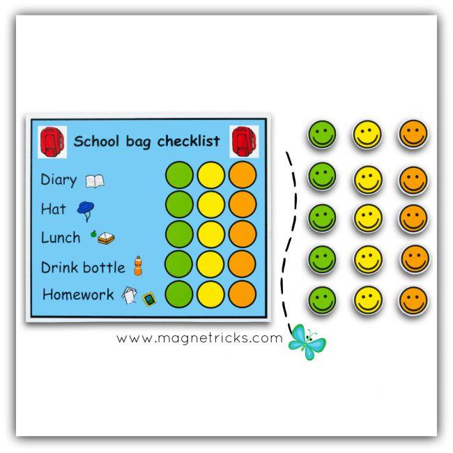 3 children magnetic school bag check list