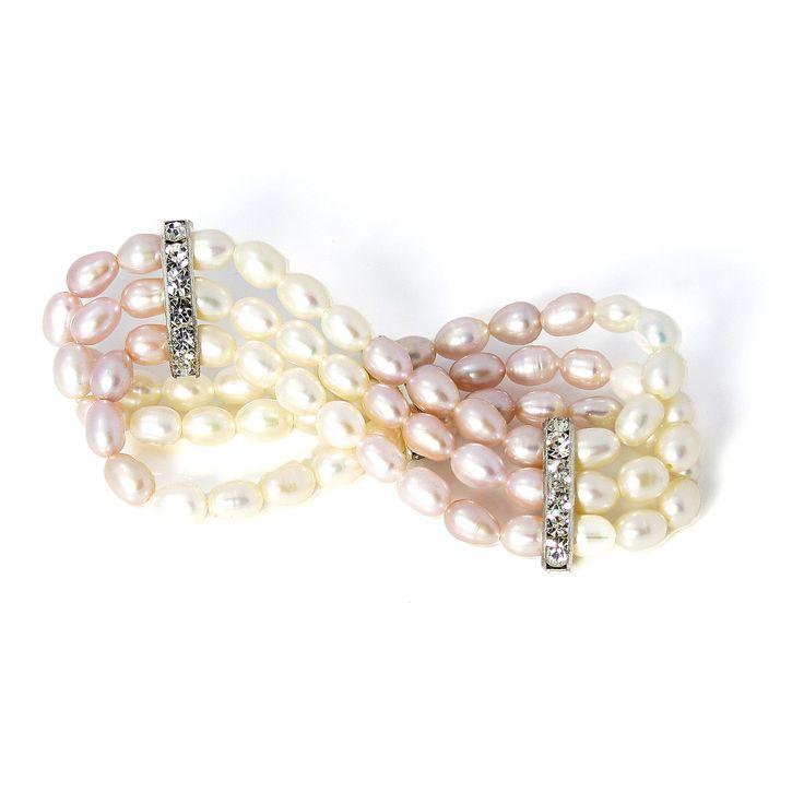 Brățară Orchira perle de cultură ovale alb roz cu inserții de zirconiu cubic