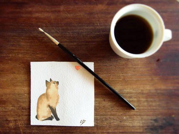 Biglietto auguri gatto con cuore STAMPA  biglietto di OrmeDiCaffe