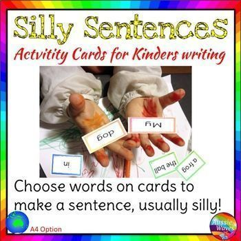 This is a fun writing center activity for building sentences. Most times the resulting sentences are silly, so your students will have fun creating sentences with this station.There's a total of 260 word cards: coloured frames seperate the words into: art