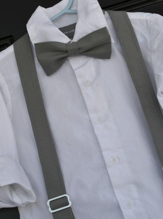 Boys grey bow tie boys grey suspenders childs by IDressToThrill