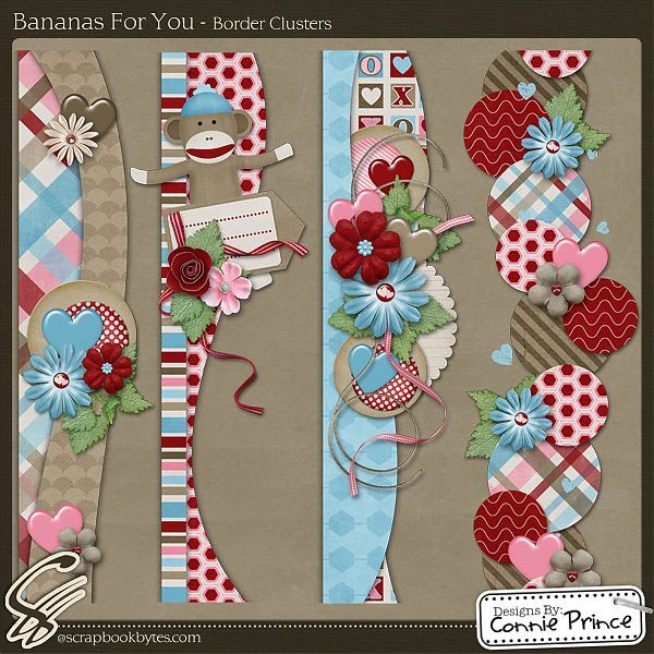 Bananas For You - Border Clusters :: Page Edges :: Embellishments :: SCRAPBOOK-BYTES