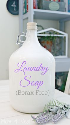 Homemade Liquid Laundry Detergent - Borax Free This amazing liquid laundry soap recipe will leave your clothes clean and smelling amazing! It's also HE washing machine safe and can be made fragrance free for people with sensitive skin!