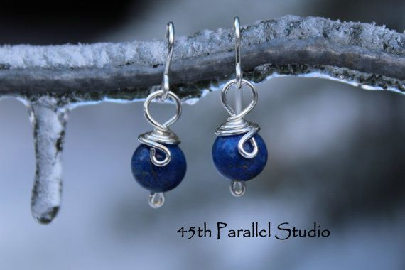 Sterling Silver Lapis Earrings by 45thParallelStudio