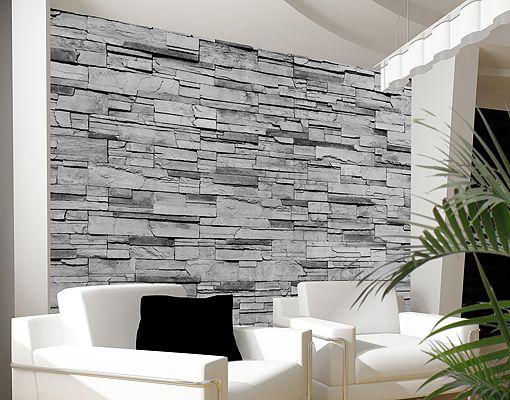 Behang Op Stenen Muur : ... op de muur en je duwt het vliesbehang er ...