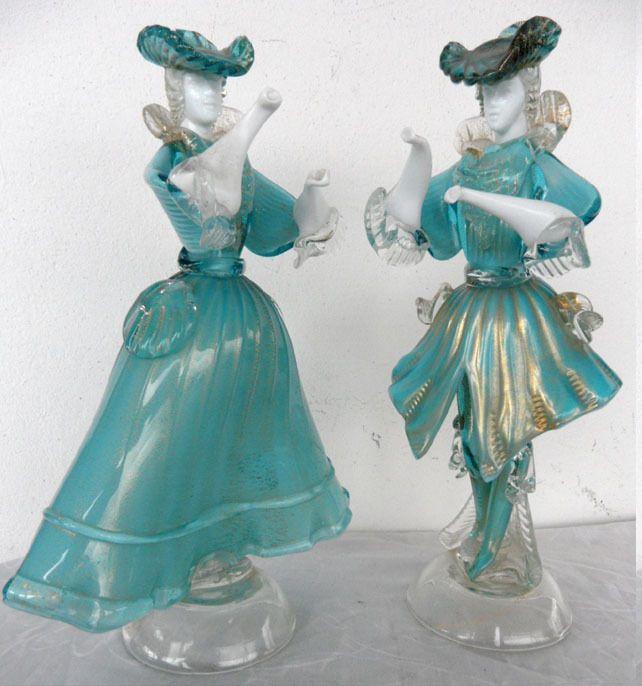 großes Tanzpaar Glas - Figuren Murano 29 cm Sammelauflösung Top Stücke