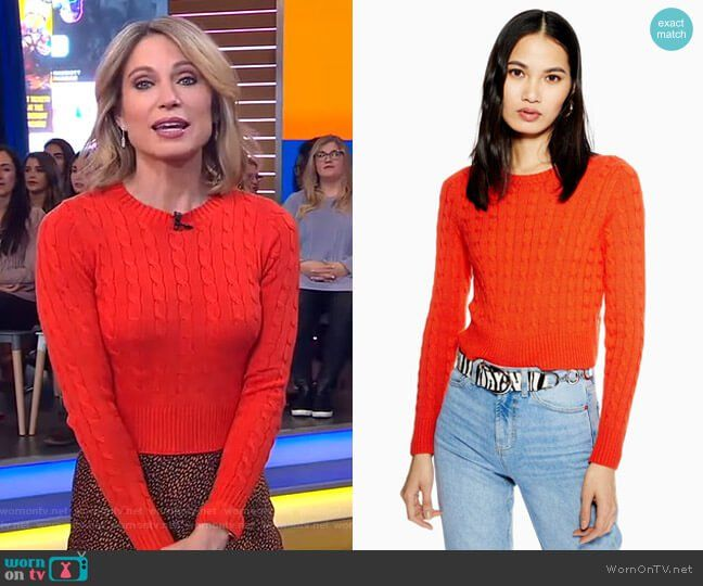Amy S Red Cable Knit Sweater And Metallic Skirt On Good Morning
