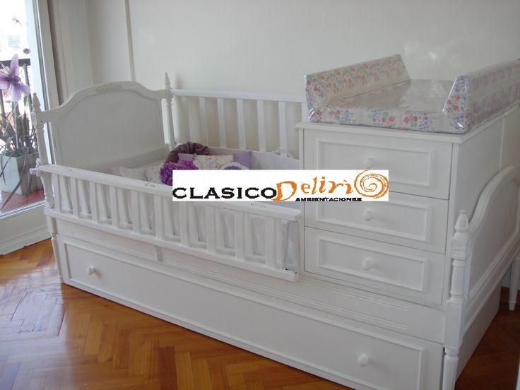 Cuna funcional en madera maciza tallada con baranda que - Cambiador de cuna para bebe ...