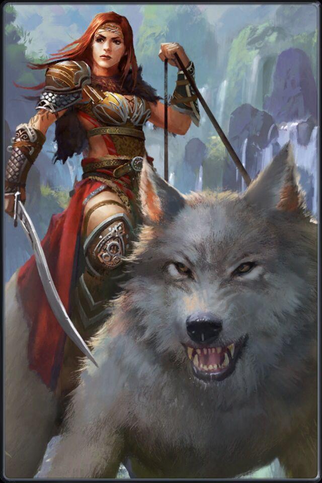 картинки воительница и волк на аватарку