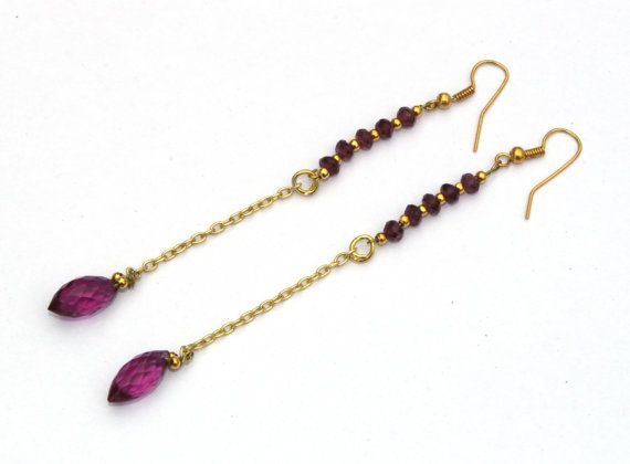 4 Long Garnet & Rubellite Pink Quartz Wire by RareGemsNJewels
