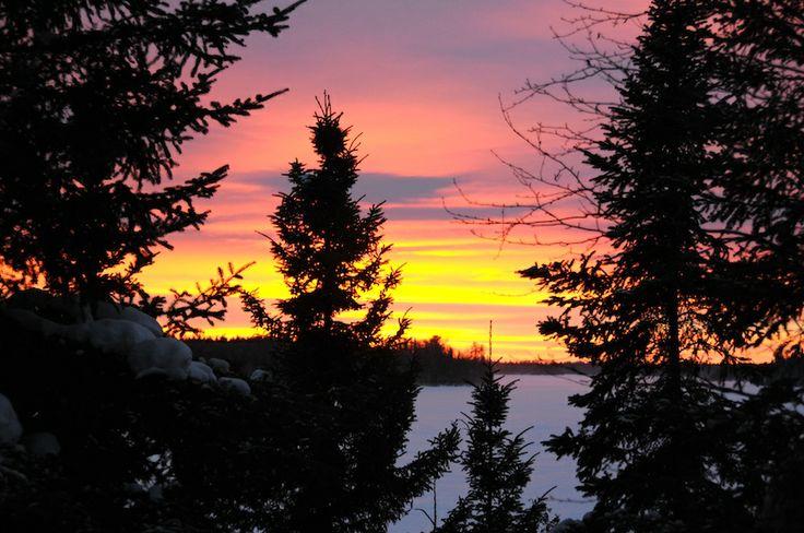 A winter sunset at Fireside Lodge www.firesidelodge.com