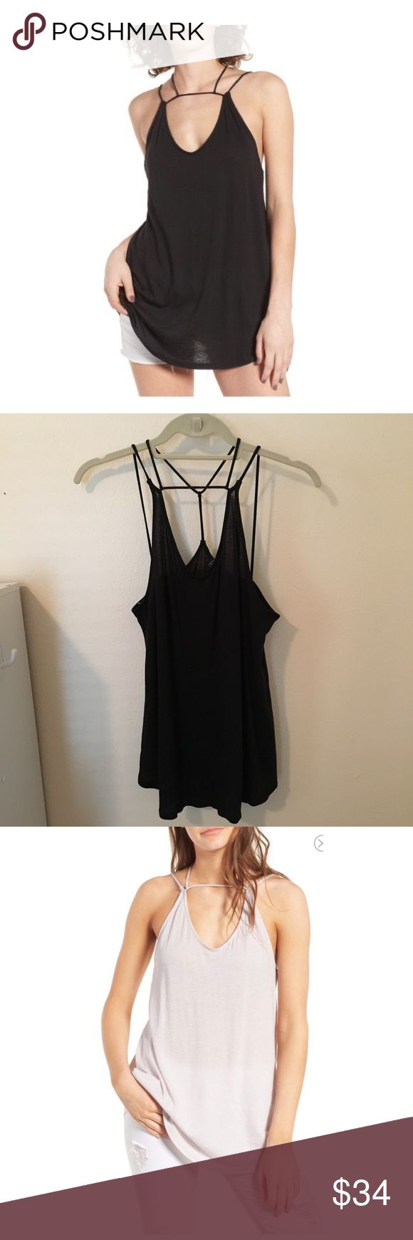 """Black strappy tank 🖤 Michele by Comune Wylie Tank. Purchased at Nordstrom. """"A soft, tissue weight tank suspended from a  delicate web of straps."""" Lightweight but not see thru, so cute!! NWT. Model pictures of white tank just to show details. I do accept REASONABLE offers!! Also on ♏️ Michelle by Comune Tops Tank Tops"""