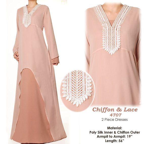 Beige Brown Chiffon Islamic Abaya Long Sleeves Maxi by MissMode21, $34.00