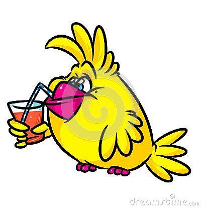 Yellow Bird drink juice cartoon illustration    image