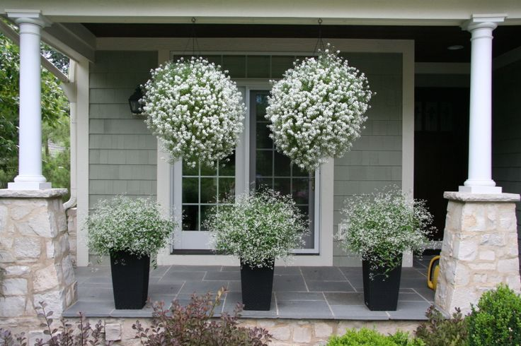 """Whether hung from the eaves of your house or on a hook out in the yard's landscaping itself, flowering baskets are a beautiful way to offer instant, fresh color and appeal to your home. Bonus: They can be changed up every year for a fresh new look to your front yard."