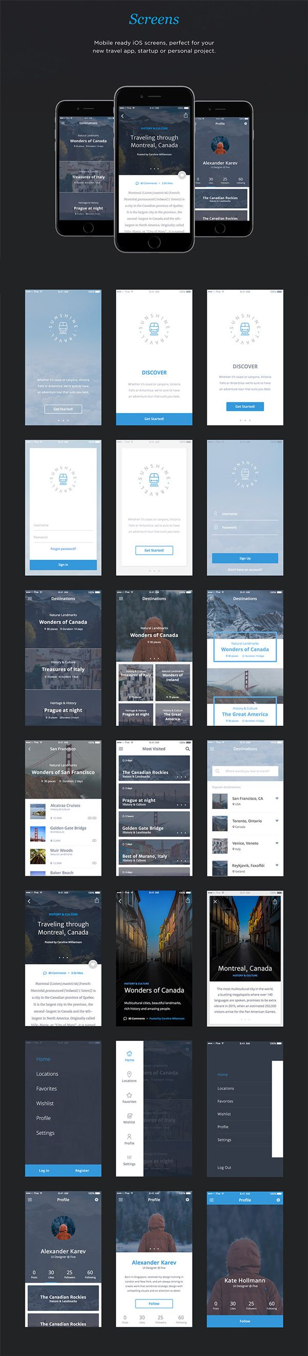 Free Download : Travel App UI Kit (50 screens)
