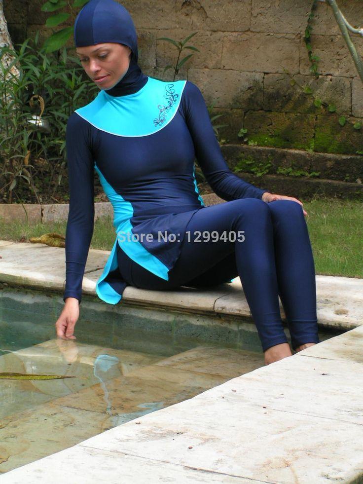 Mujeres libres del envío islámico musulmán de la cubierta completa traje de baño para nadar desgaste trajes. muselina del traje de baño 1 pce