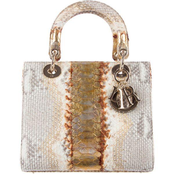 Christian Dior Python Medium Lady Dior Bag w/ Tags ($4,000) ❤ liked on Polyvore featuring bags, handbags, python purse, top handle handbags, multi color handbag, colorful handbags and colorful purses