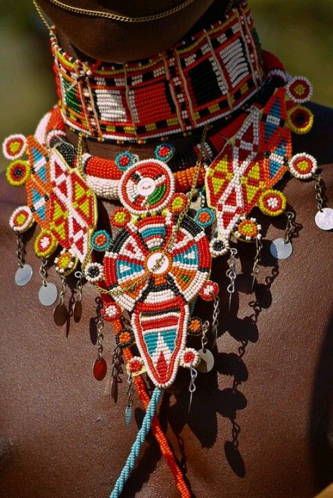 ♂ Exotic beauty tribal fashion jewelry Maasai beaded collar....#tribal #jewelry