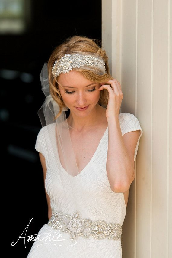 Jasmine Beaded Bridal Headpiece Veil tulle head by AmahleBridal