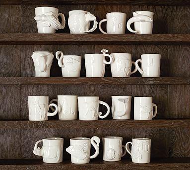 "Sculpted Animal Alphabet Mug #potterybarn ""M"""