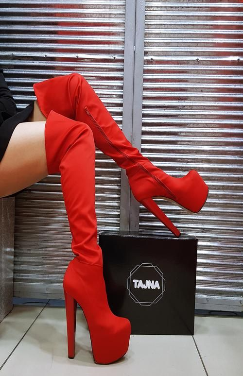752bbe75fa7 Red Over-the-Knee Platform Boots