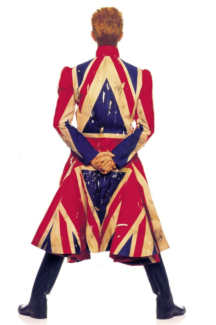 David Bowie - original photography for the 1997 Earthling album cover, featuring a Union Jack coat designed by Alexander McQueen
