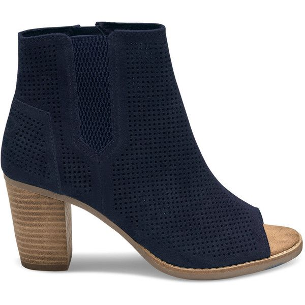TOMS Navy Suede Perforated Women's Majorca Peep Toe Booties ($110) ❤ liked on Polyvore featuring shoes, boots, ankle booties, navy, ankle boots, suede ankle boots, high heel bootie, suede booties and peep-toe booties