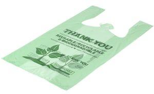 Green Herc 1/6 Size Biodegradable Plastic T-Shirt Bag - 500/Case